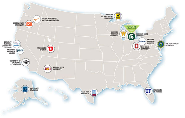 Members Universities Smarrrt - Us map with universities